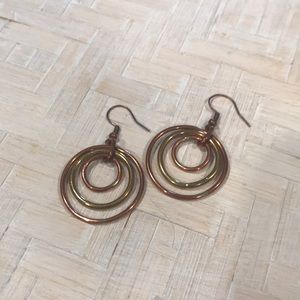 Gold and Copper Circle Earrings